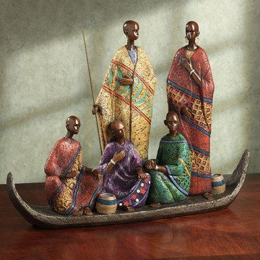 River Voyage Table Sculpture African Paintings African American Figurines African Sculptures
