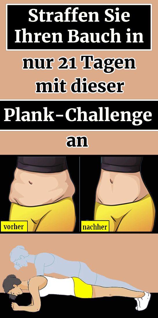 Straffen Sie Ihren Bauch in nur 21 Tagen mit dieser Plank-Challenge an #fitnesschallenges