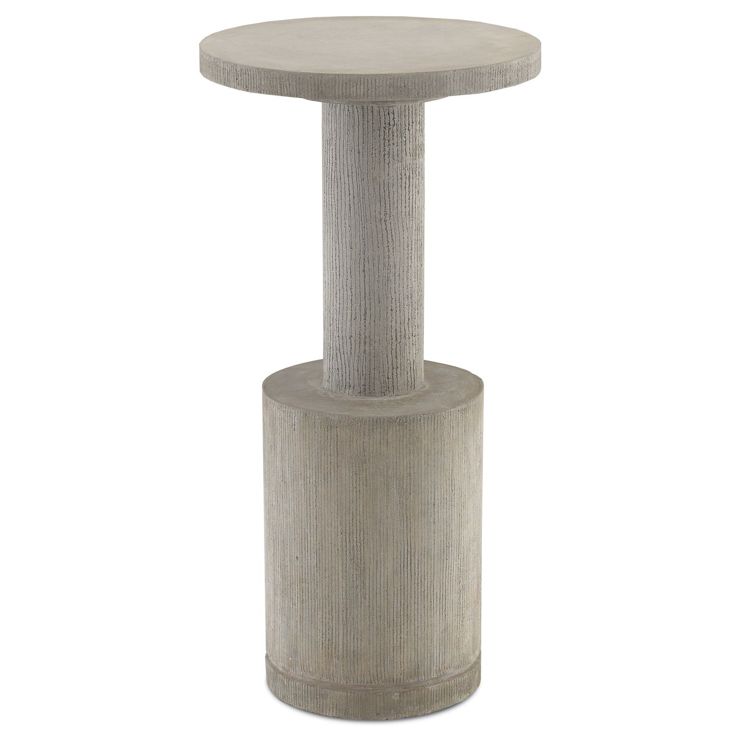 Abella Industrial Loft Grey Concrete Round Outdoor Side End Table Drink Table Polished Concrete Currey Company