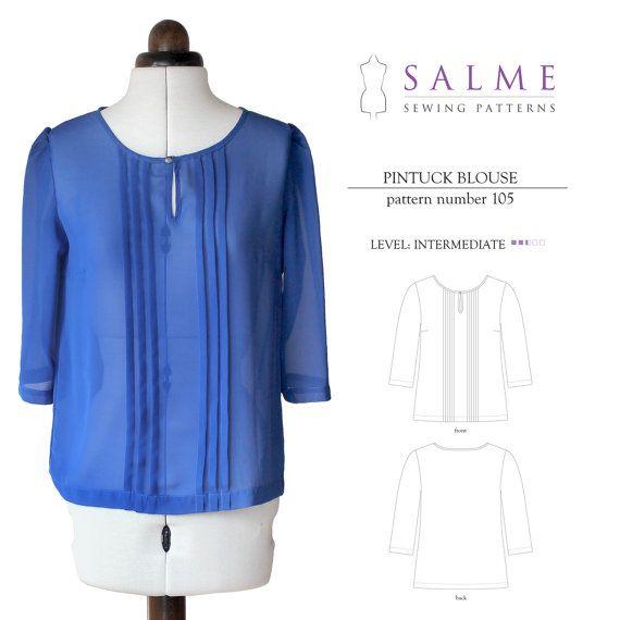 Patrón de costura de PDF de blusa alforzas por Salmepatterns ...