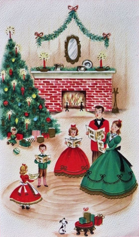 Vintage Christmas Print Would Be Fun To Reproduce As A Family Card