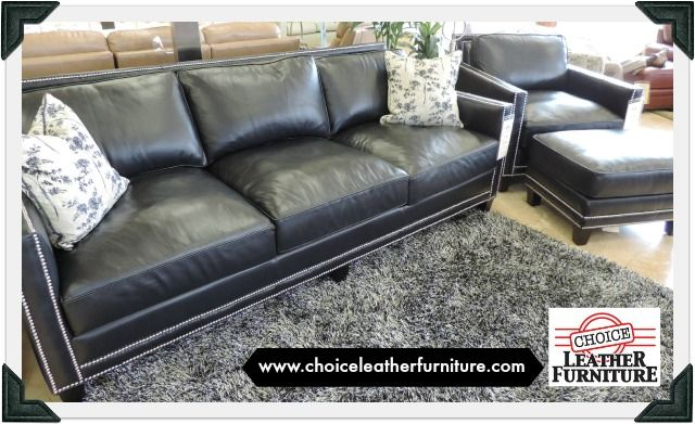 Awesome Slate Blue Leather Sofa And Chair With Silver Nail Head Alphanode Cool Chair Designs And Ideas Alphanodeonline