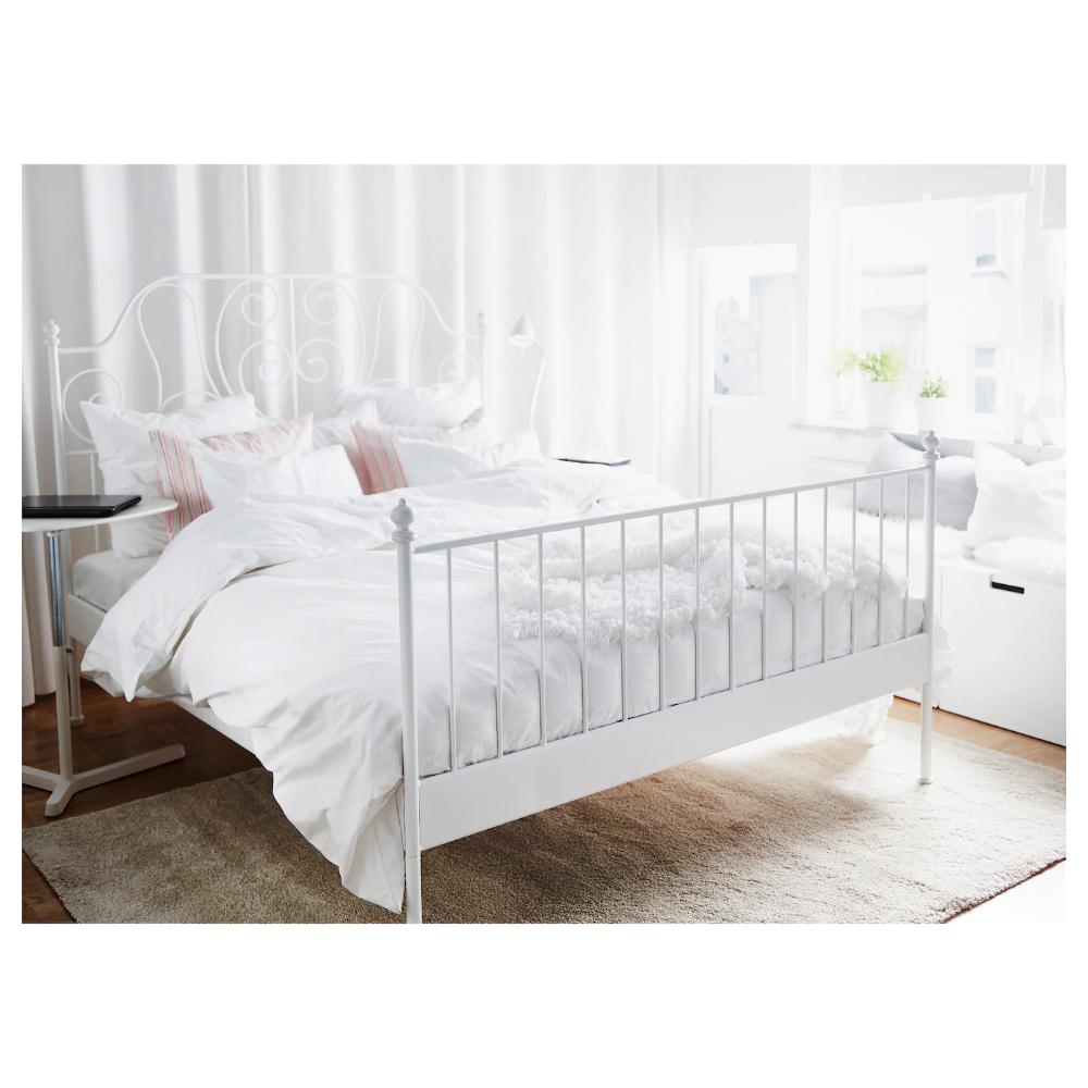 Leirvik Bed Frame White Luroy 140x200 Cm Ikea In 2020 White Bed Frame White Metal Bed White Metal Bed Frame