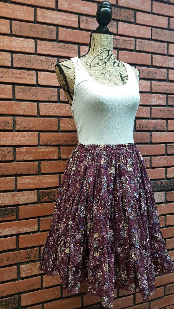 Fiesta In America Purple Flower Square Dance Skirt by VintageMason