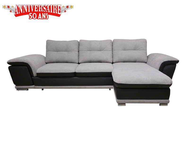 ae287f4a6a6 Canapé d angle convertible 4 places METEOR coloris gris clair noir en tissu
