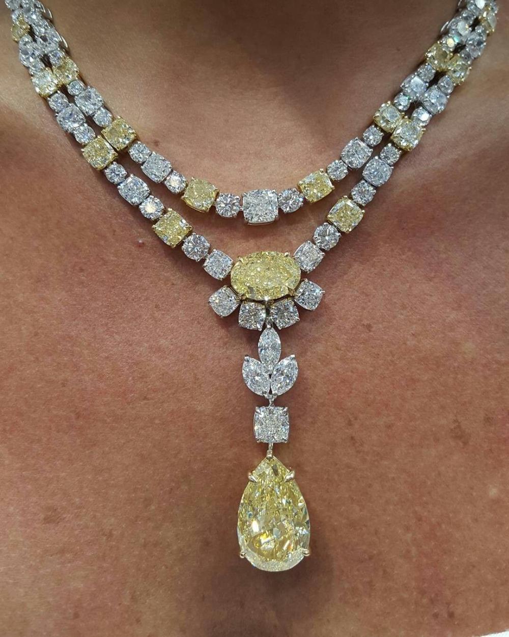 Gemville Jewelry Magazine On Instagram Impressive 102 5ct Yellow Diamond Necklace Diamond Necklace Beautiful Necklaces