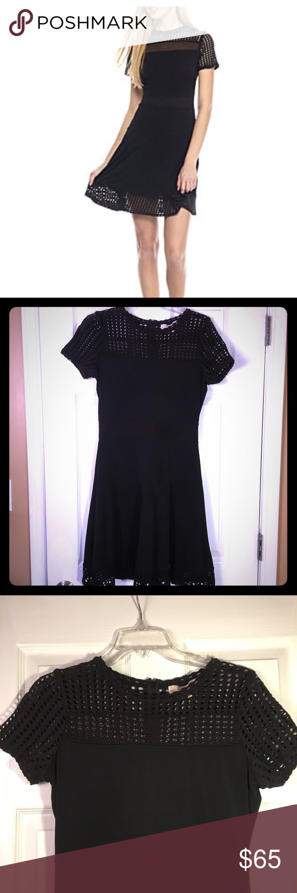 Michael Michael Kors Black Mesh Combo Dress Size M Combo Dress Clothes Design Michael Kors Dresses [ 1740 x 580 Pixel ]