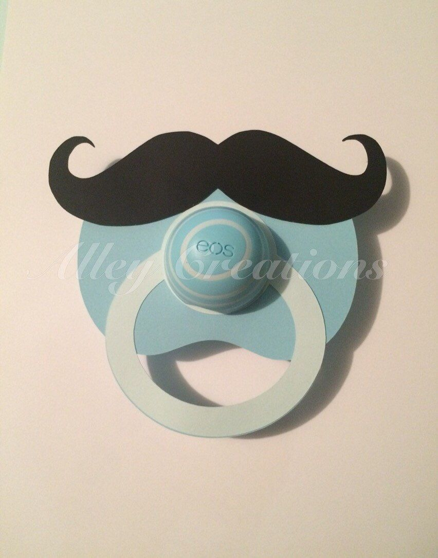 12 mustache pacifier eos lip balm baby shower favors by. Black Bedroom Furniture Sets. Home Design Ideas