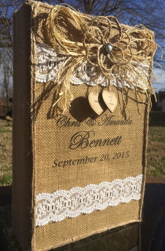 Rustic Wedding Photo Album Burlap Lace By BurlapCreationsNC