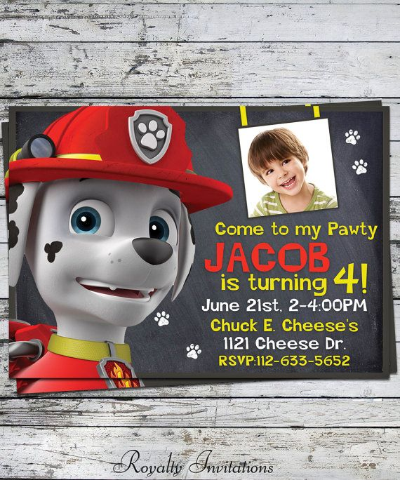 Paw Patrol Marshall Birthday Party Invitation Kids Princess On Etsy 575
