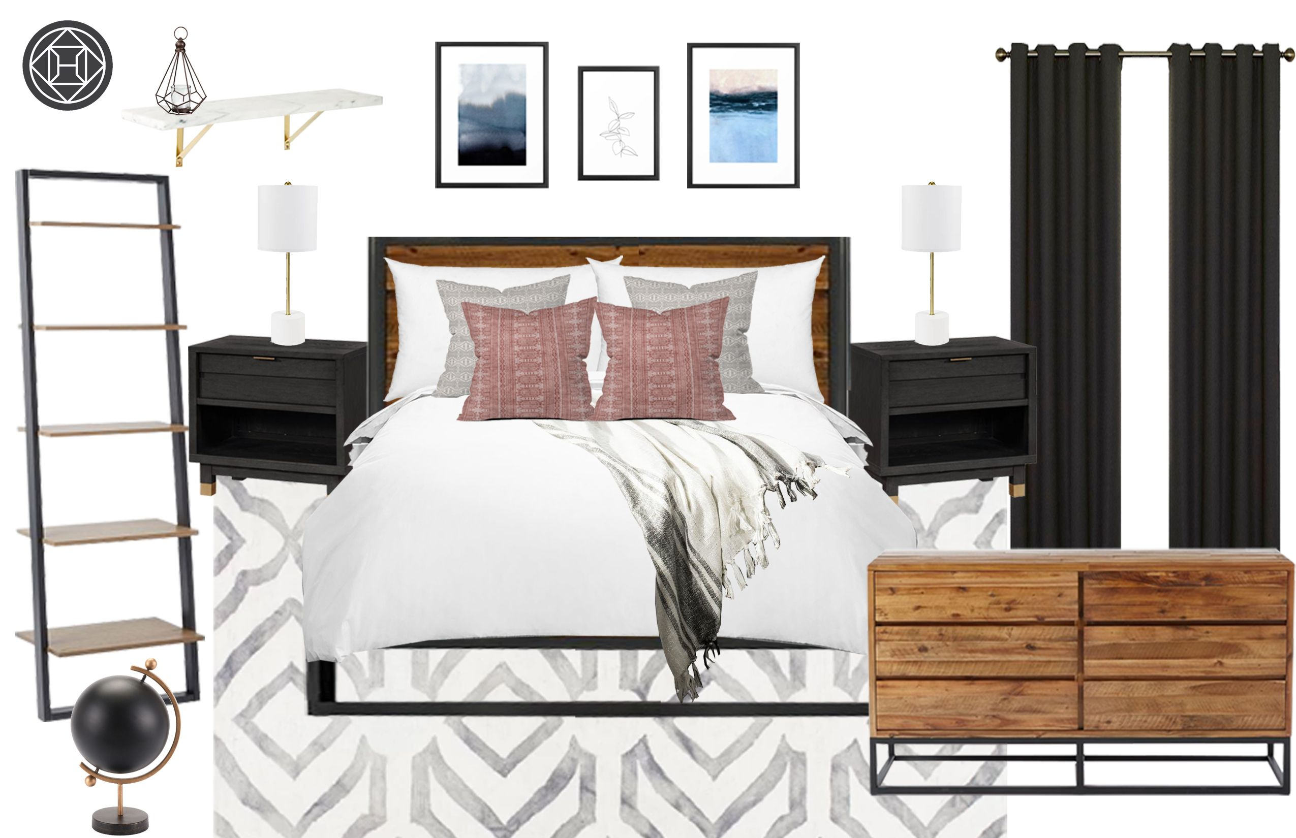 Contemporary, Industrial, Transitional Bedroom Design by