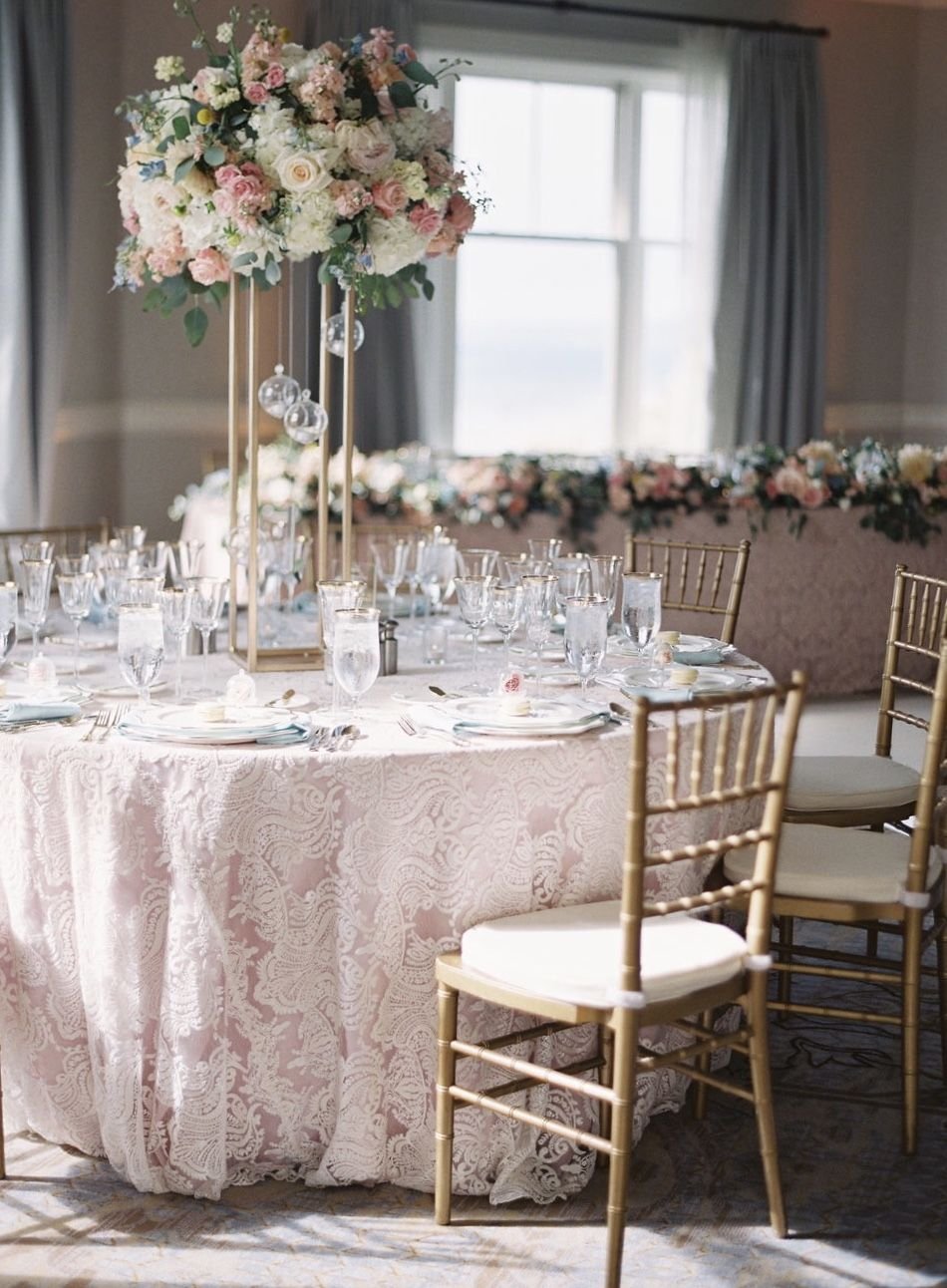 Pink And Blue Themed Table Setting For Wedding Banquet At Ritz Carlton Half Moon Bay Event Planning Stylin Wedding Table Settings Table Settings Venue Decor