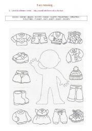 English Worksheets: Clothes / I am wearing (2 pages)