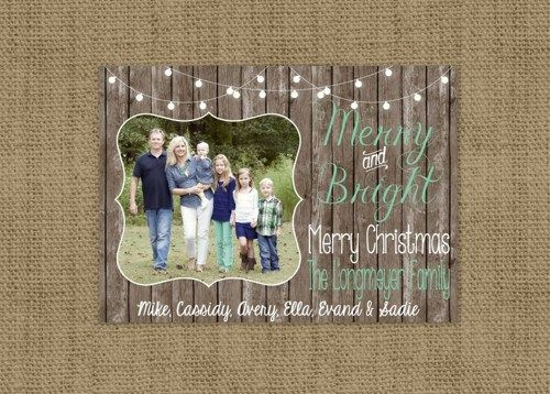 custom rustic photo merry and bright wood christmas card diy 5x7 i - Rustic Christmas Cards