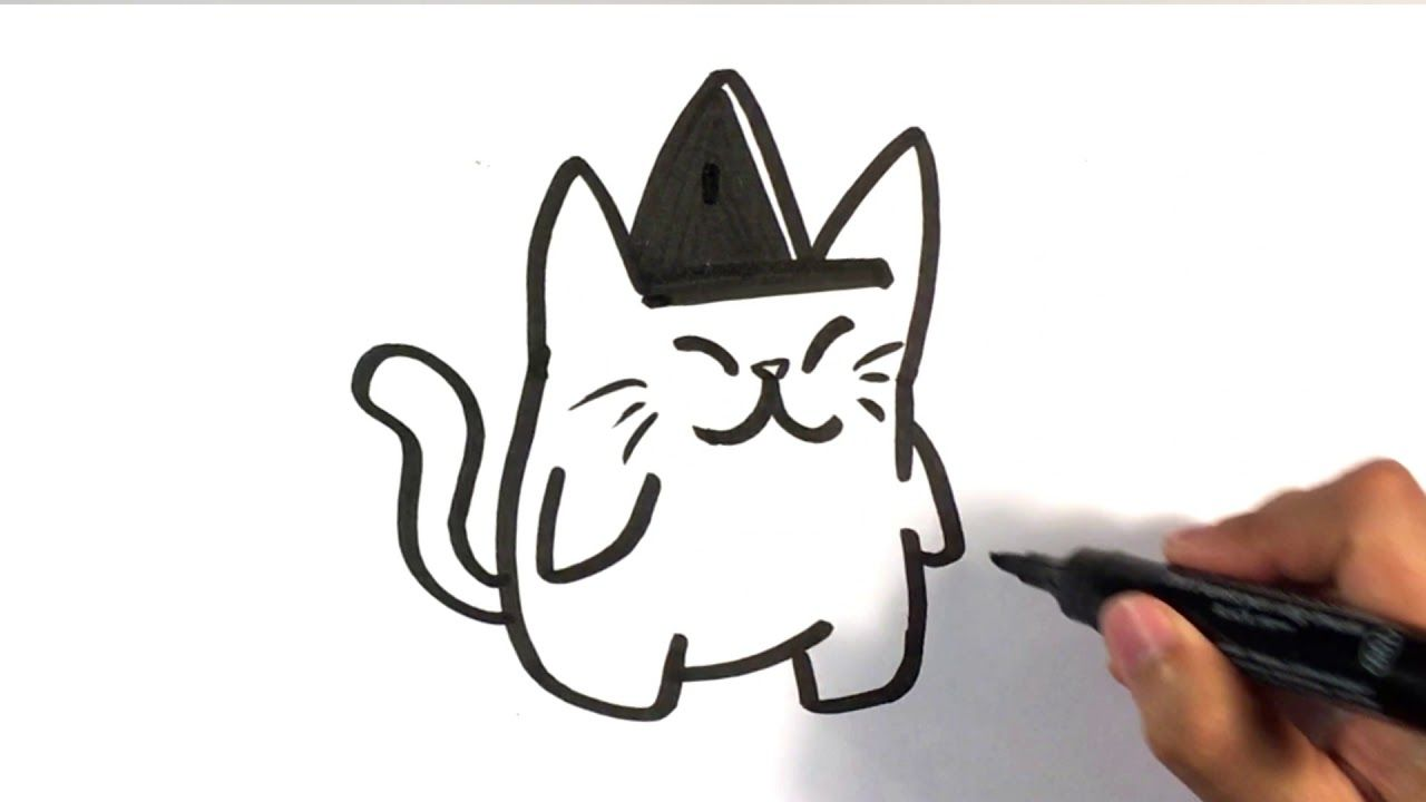 How To Draw Cute Cat In Witches Hat Halloween Drawings Halloweendrawings Arttutorials Cute Halloween Pictures Halloween Pictures To Draw Halloween Drawings
