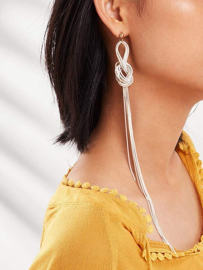 31cf9c20b0 SheinShein Twist Line Long Drop Earrings 1pair | Products in 2019 ...