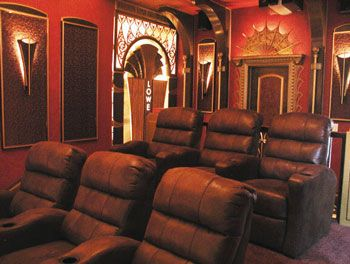 home theater art. contemporary art deco 1930s-style home theater c