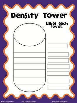 Density Tower Worksheet | science experiments | Density
