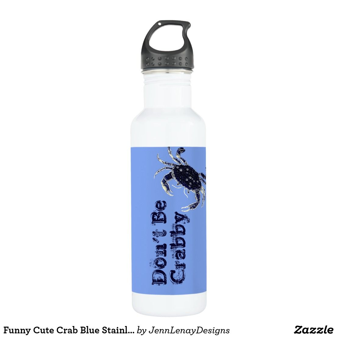 Funny Cute Crab Blue Stainless Steel Water Bottle Zazzle