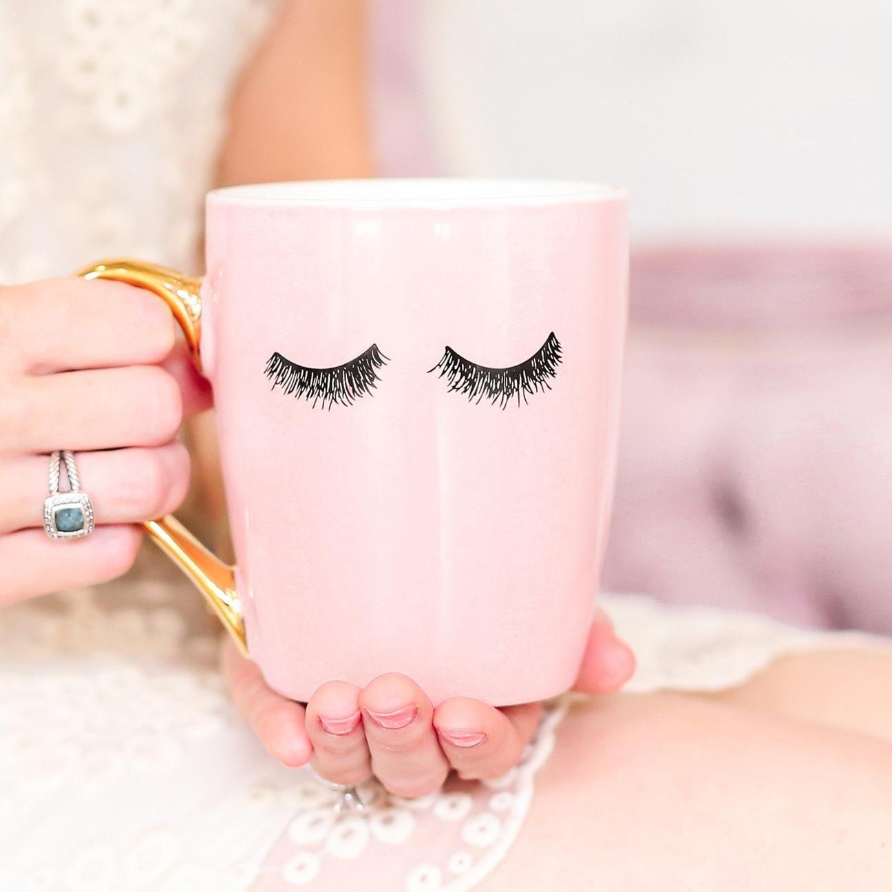 Pink Eyelashes Gold Coffee Mug Coffee Mugs Sweet Water Decor Rustic Home