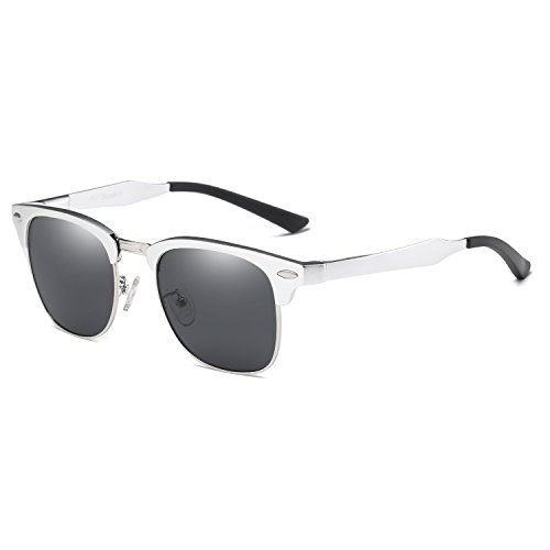 281bd4c51ab BLEVET Classic Polarized Retro Sunglasses Al-Mg Semi-rimless Driving Sun  Glasses