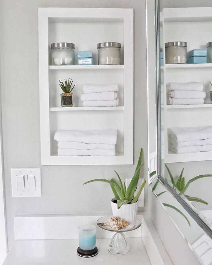 25 Best Built In Bathroom Shelf And Storage Ideas For 2019 Recessed Shelves Bathroom Storage Shelves Bathrooms Remodel