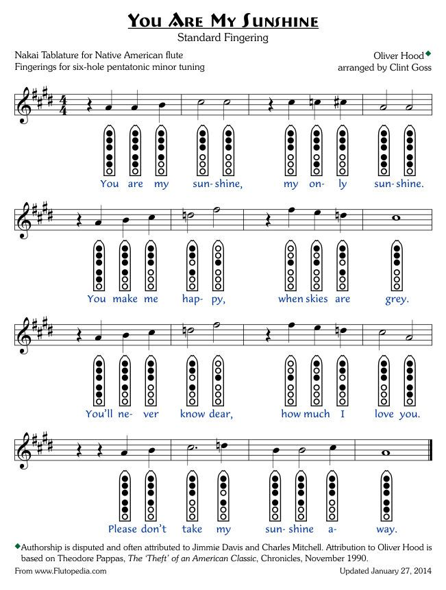 You Are My Sunshine - Standard Fingerings - Six-hole Pentatonic - flute fingering chart