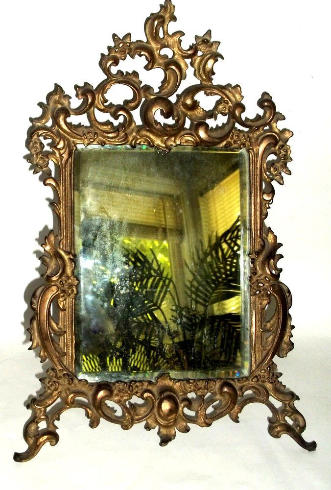 Antique Victorian Standing Vanity Mirror Cast Metal Aged Gold Picture Frame Victorian Gold Picture Frames Metal Casting Picture Frames