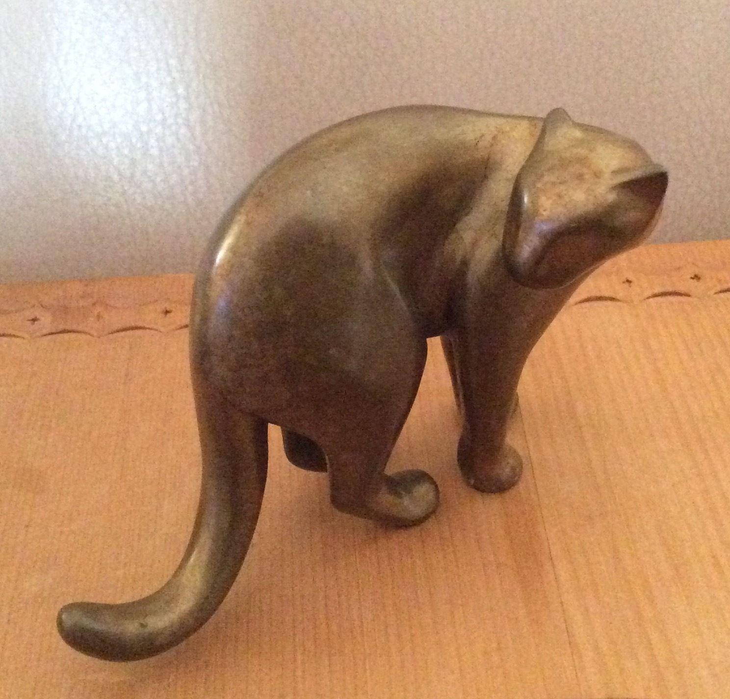 Michael tatom bronze tone puma sculpture