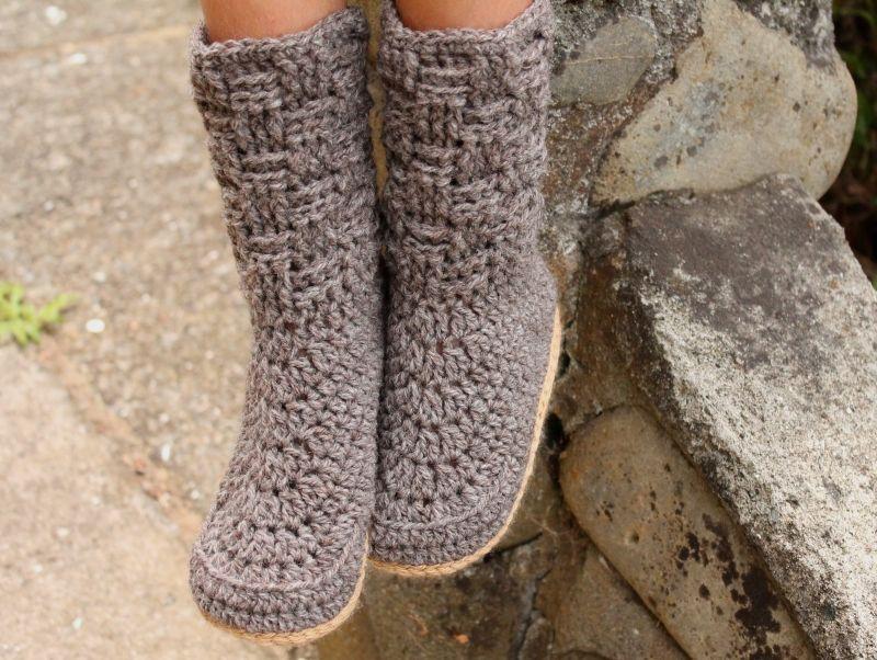Basket Weave Kids Crochet Slippers Crochet Pattern By Inventorium