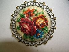 Vintage Pin Needlepoint Petite Floral Rose Metal Scroll Work Border 1 1/2""