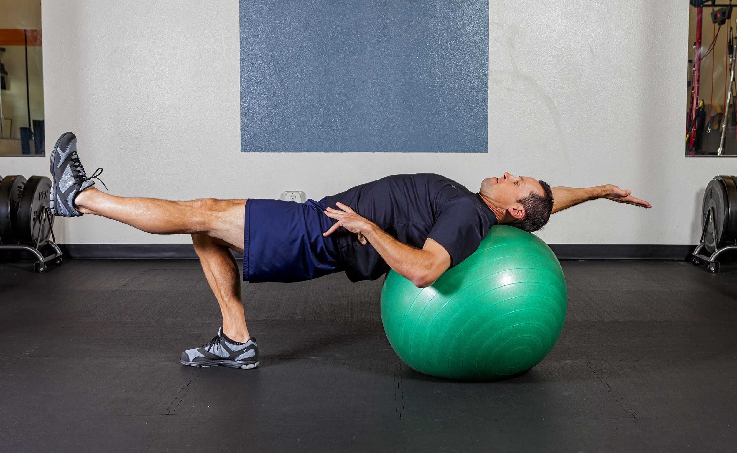 Exercise ball table top w alternating arm leg extension