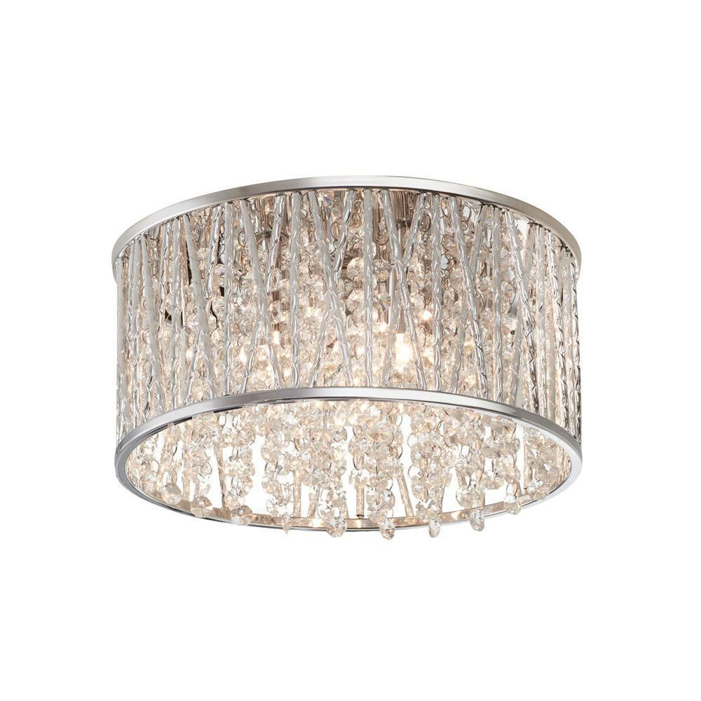 High Quality Home Decorators Collection 3 Light Polished Chrome And Crystal Flushmount