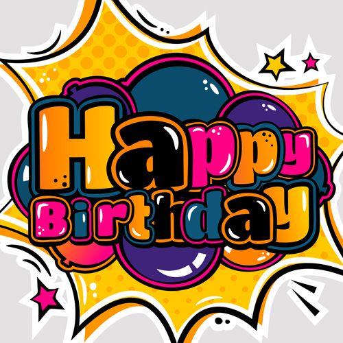 Cartoon styles happy birthday design vector 08   *Card fronts ...
