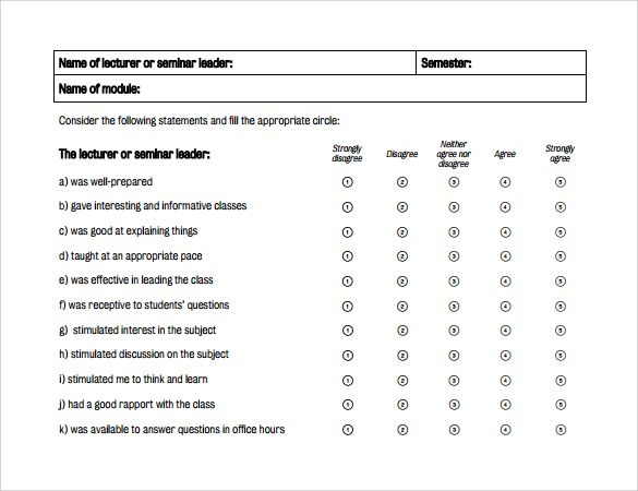 Captivating Sample Teacher Evaluation Form U2013 6+ Example, Format
