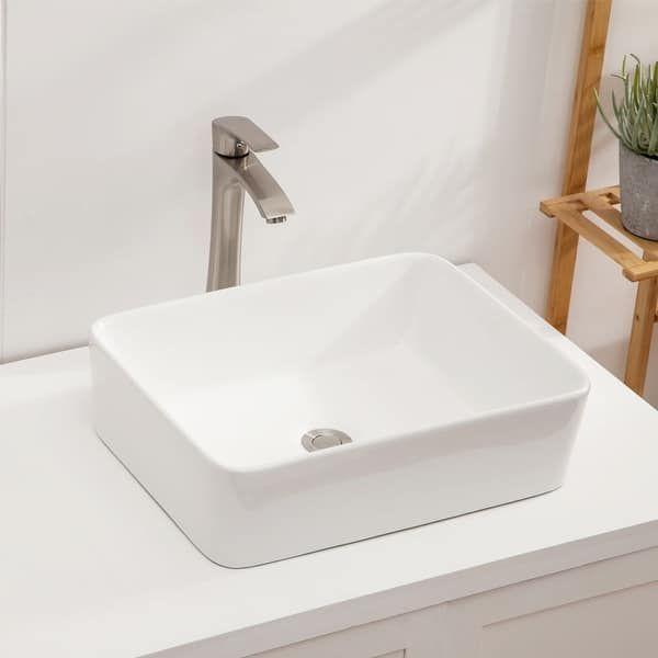Photo of 19″x15″ White/Black Ceramic Handmade Rectangular Vessel Bathroom Sink