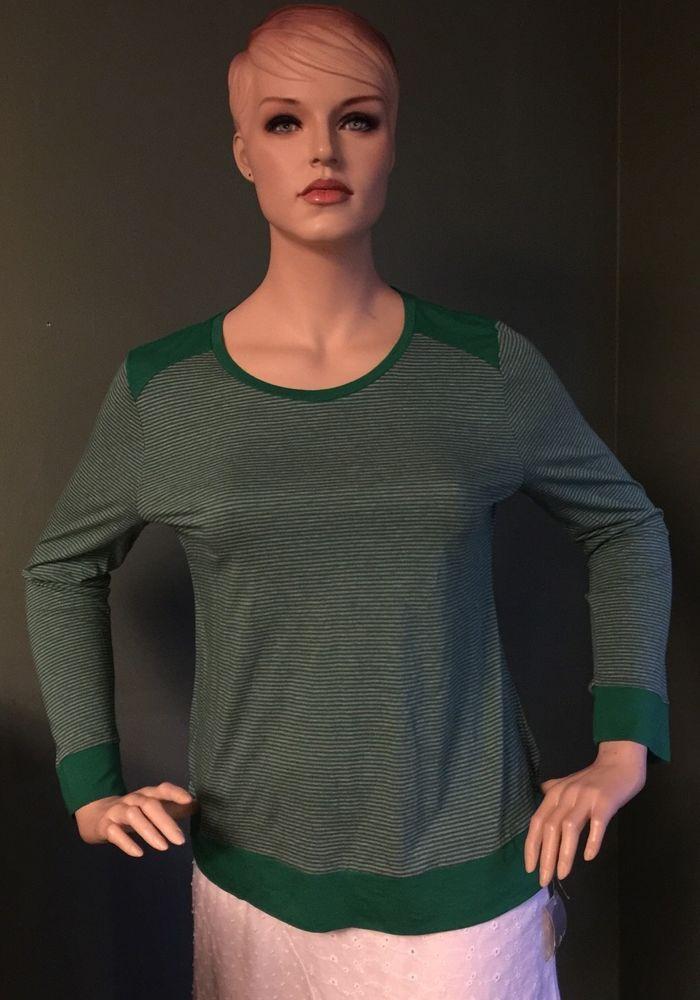 62d7a644 LIZ CLAIBORNE STRIPED TEE TOP - GREEN & GREY - SIZE XL #LizClaiborne  #KnitTop