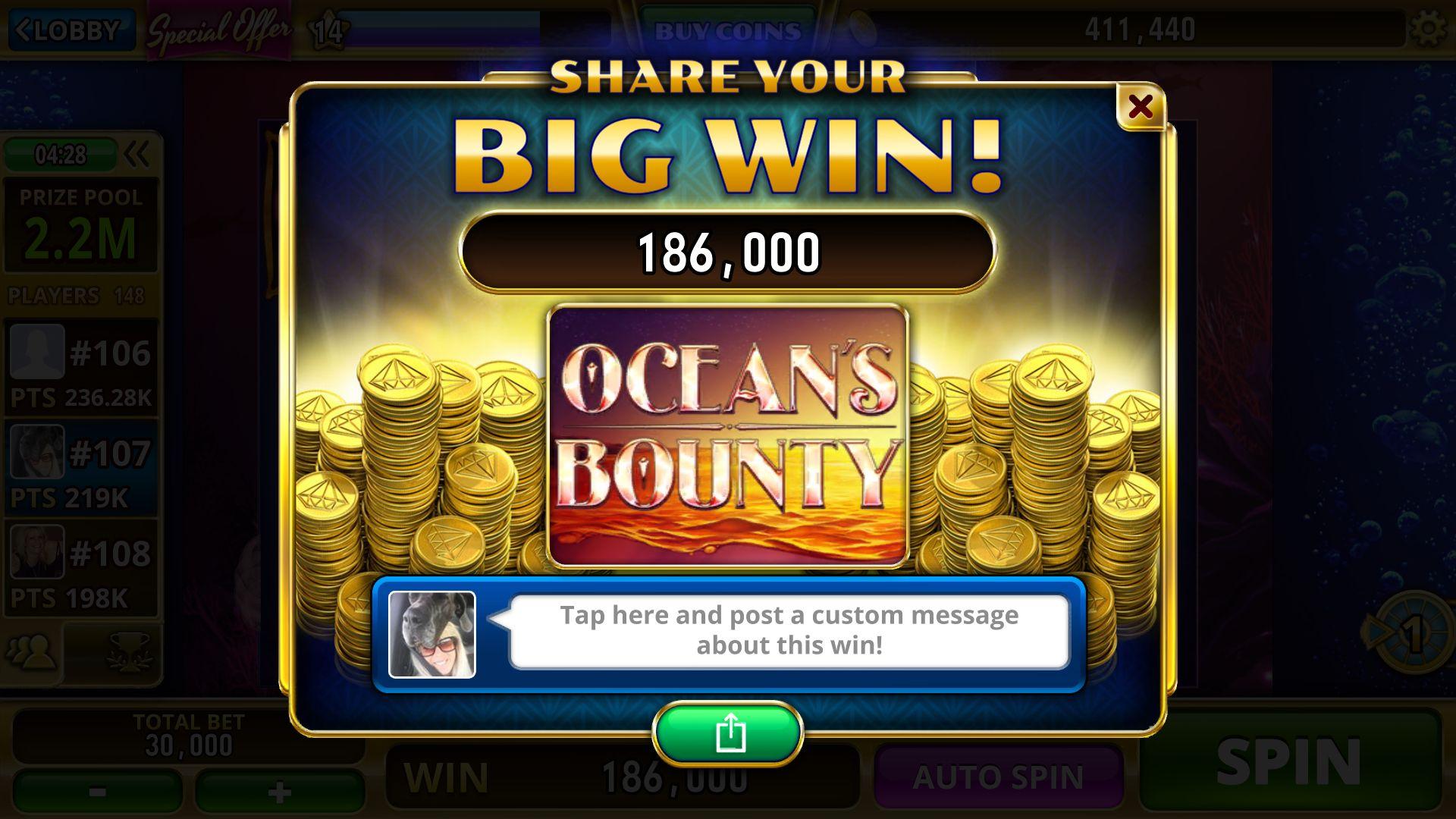 I won a big win on oceans bounty i win custom message big