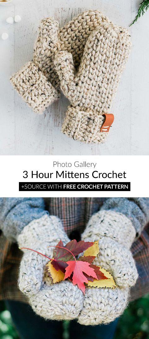 3 Hour Mittens Crochet | Crochet | Pinterest | Ganchillo, Croché y ...