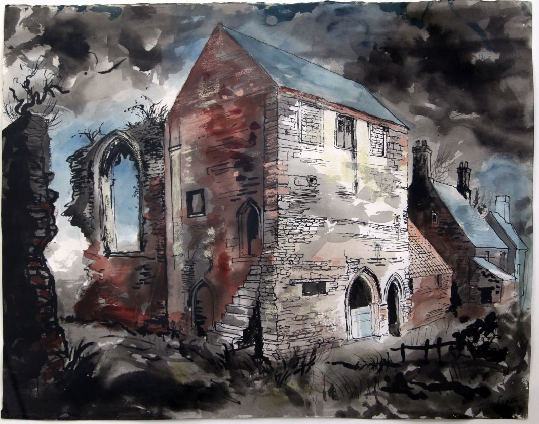 § John Piper (1903-1992)ink and watercolour,Beauvale Priory, 1983, signed, Bohun Gallery 20 x 26in
