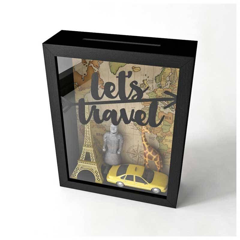 Travel Box Mapa-Múndi Vintage - Cofrinho, vitrine de souvenir ou porta-tickets. Caixinha para viajantes!