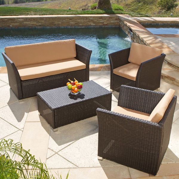 Christopher Knight Home Brown 4 Piece All Weather Wicker Patio Furniture  Sofa Set