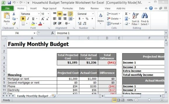 Household Budget Template Worksheet For Excel Household Budget