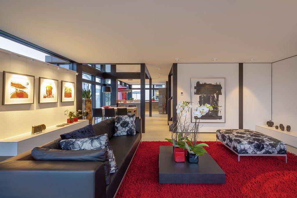 Blick Vom Wohnzimmer In Die Offene Küche Im Huf Haus Modum 8 10 ... Fachwerk Wohnzimmer Modern