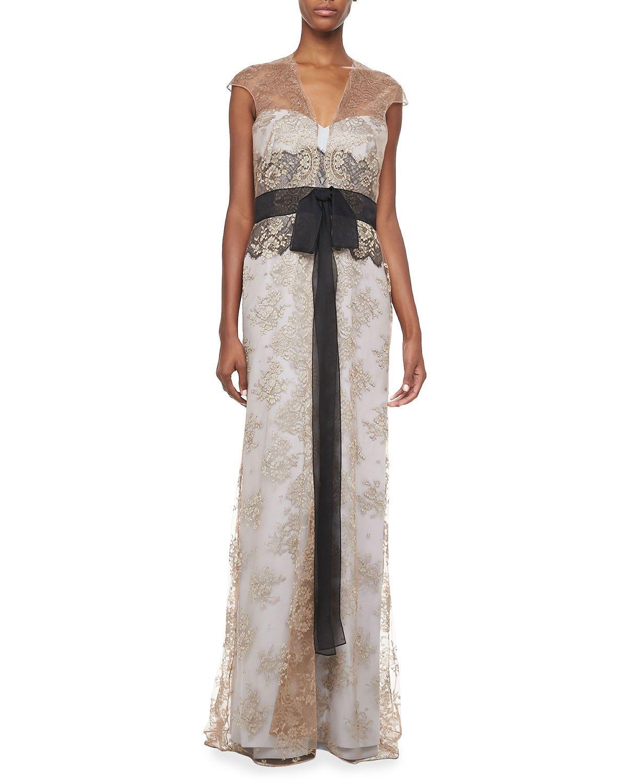 Carolina Herrera Lace Self-Tie Gown - Neiman Marcus | Best dresses ...