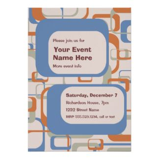 Midcentury Modern Party Or Event Invitation  ModernRetro Party