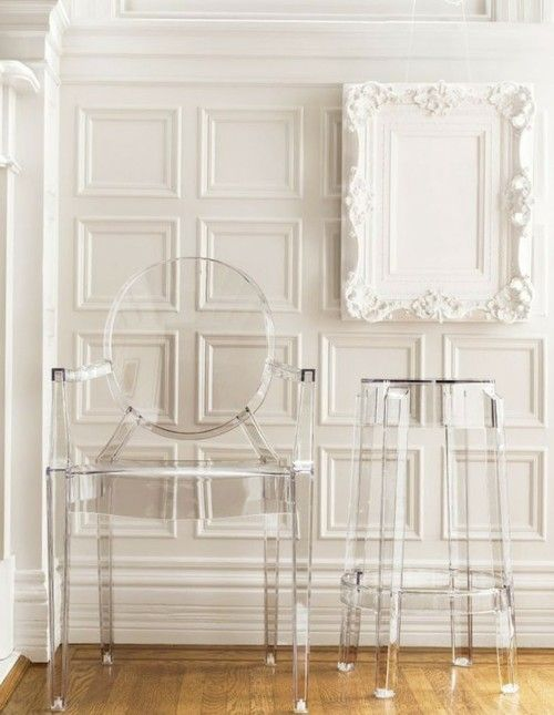 louis ghost chair and stool ornate frame and wall moulding love