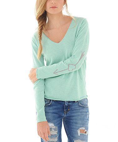 Another great find on #zulily! Light Green Star Cashmere-Blend Sweater #zulilyfinds