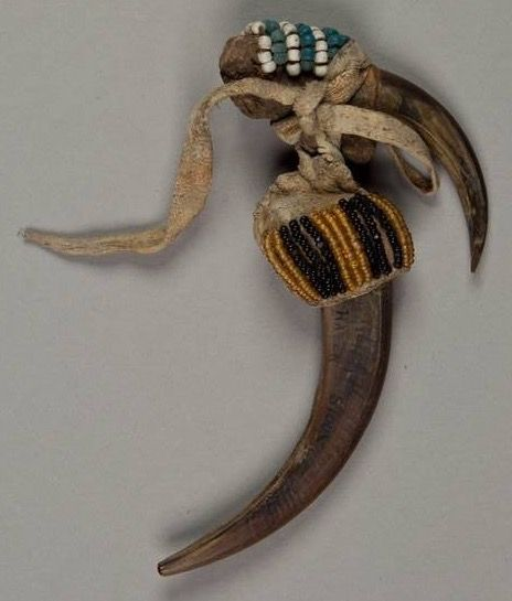 Sioux Indian plains grizzly bear claws amulet.