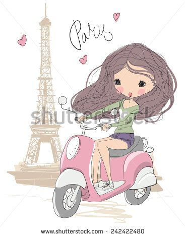The Girl On A Scooter In Paris Stock Vector Con Imagenes